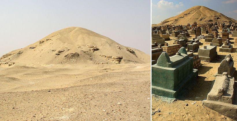 Пирамида Аменемхета I и мусульманское кладбище в Лиште