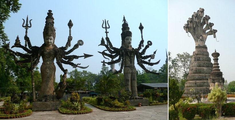Сюрреалистические скульптуры храма Сала Кэу Коу в Таиланде