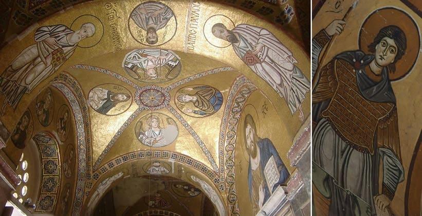 Внутри монастыря Осиос Лукас в Греции