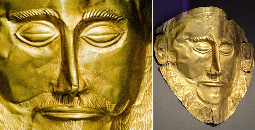 Золотая маска Агамемнона Национального археологического музея Афин