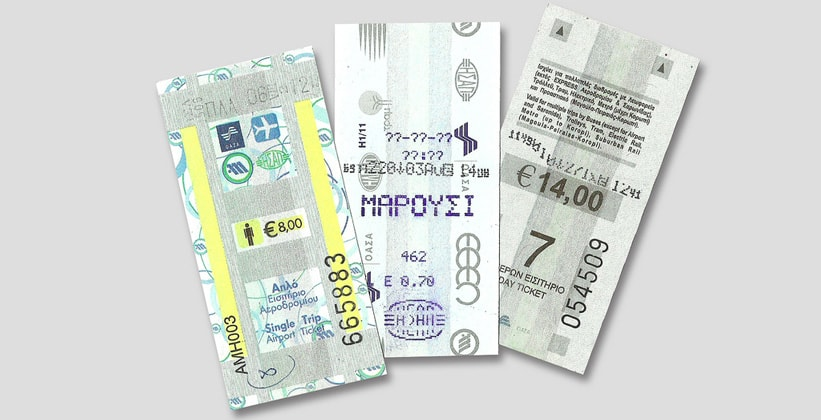 Билеты на общественный транспорт Афин (Греция)