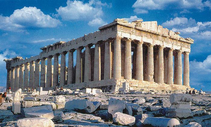 Полный вид Парфенона Афинского Акрополя
