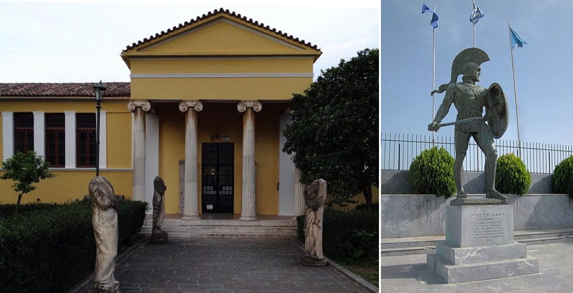Археологический музей и статуя царя Леонида в Спарте (Греция)