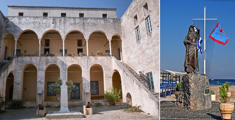 Местный музей и статуя Ласкарины Бубулины в городе Спеце (Греция)