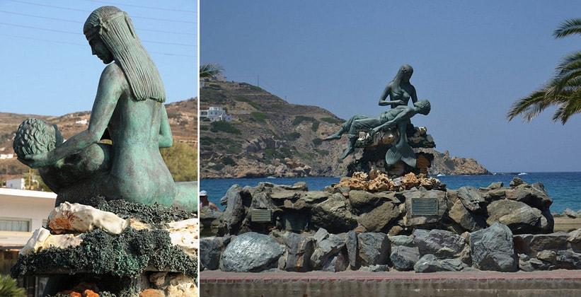 Экстравагантная статуя в деревне Кини на острове Сирос (Греция)