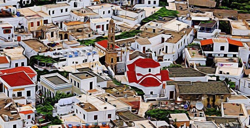 Греческий город Линдос (остров Родос)