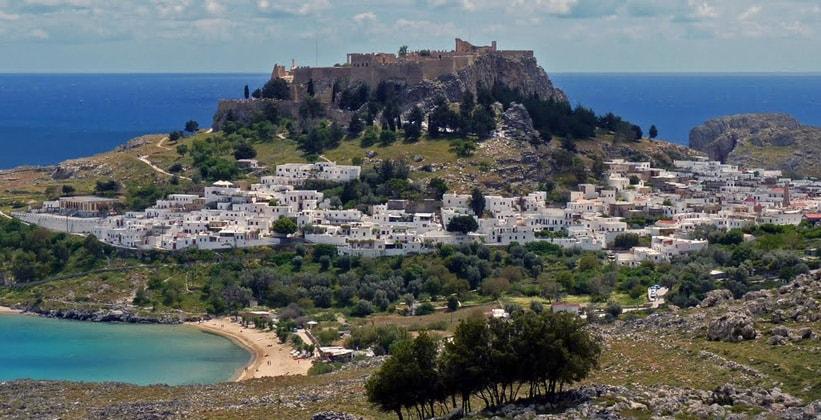 Город Линдос на острове Родос (Греция)