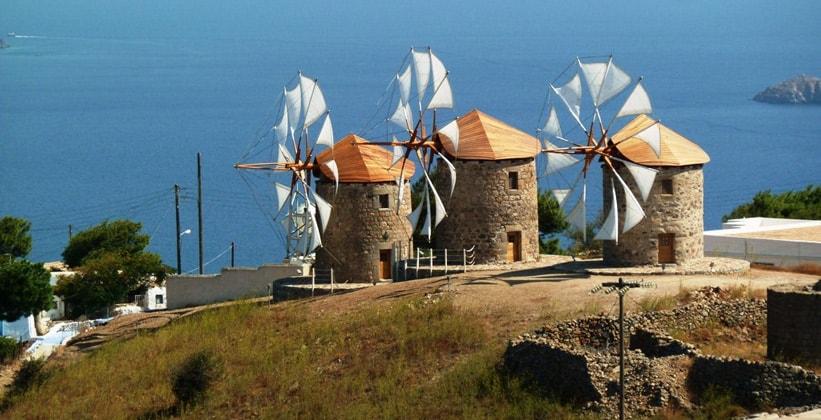 Ветряные мельницы на острове Патмос (Греция)