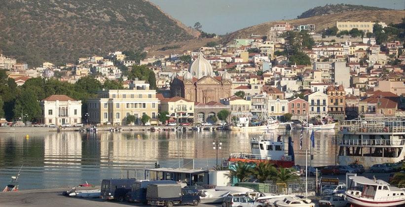 Город Митилини в Греции