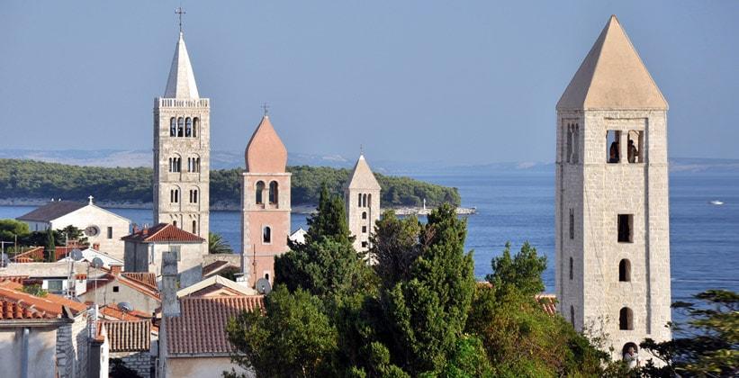 Четыре башни города Раб (Хорватия)