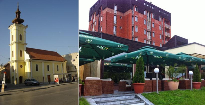 Церковь Святого Духа и отель Slavonija в городе Винковцы (Хорватия)