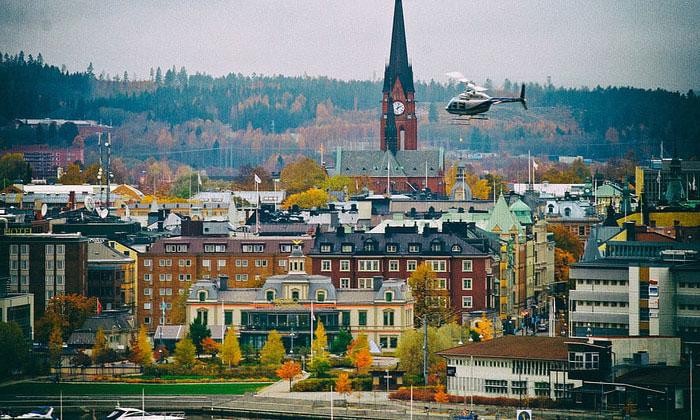 Город Сундсвалль в Швеции