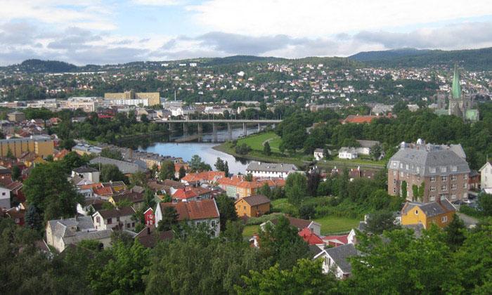 Город Тронхейм в Норвегии