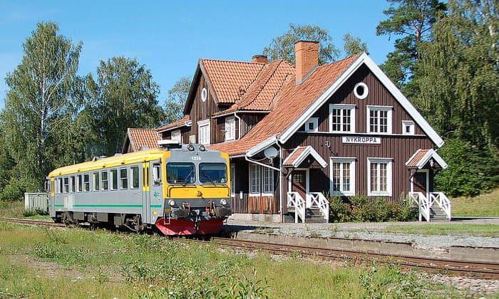 Железнодорожная станция Nykroppa (Инландсбанан) в Швеции