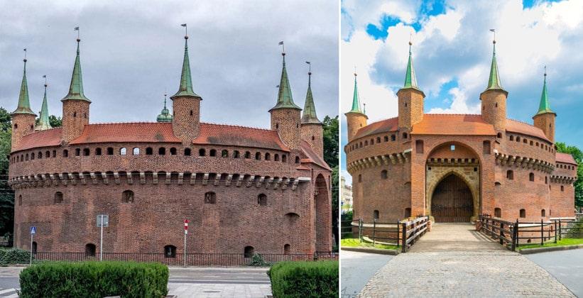 Оборонительный бастион Барбакан в Кракове (Польша)