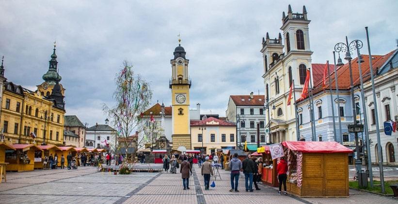 Главная площадь города Банска-Бистрица (Словакия)