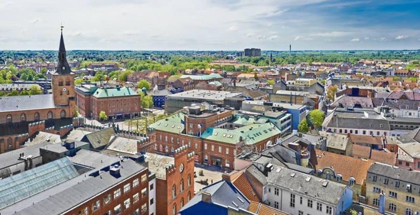 Город Оденсе в Дании