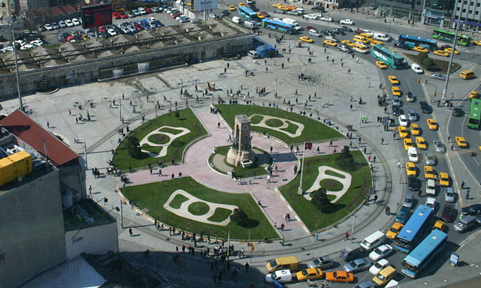 Панорама площади Таксим в Стамбуле