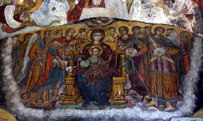 Фреска Богородица с ребёнком Сумелы