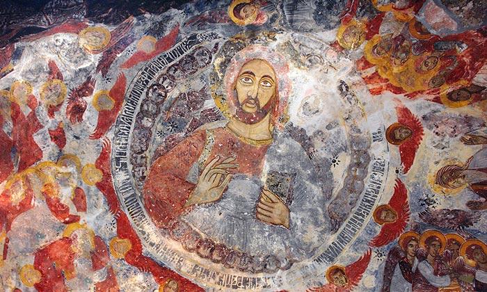 Фреска с изображением Иисуса монастыря Панагия Сумела
