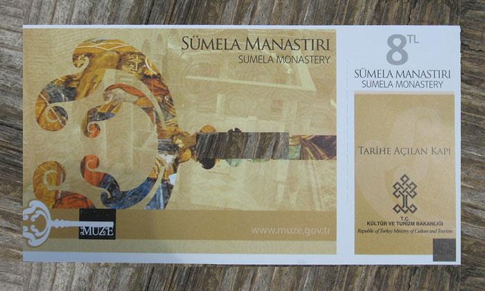 Входной билет в монастырь Панагия Сумела