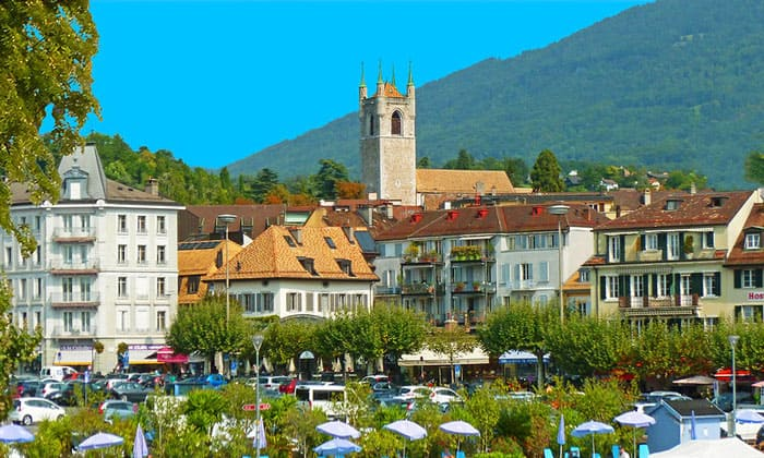 Город Веве в Швейцарии