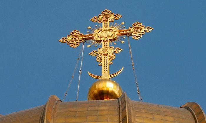 Крест храма Христа Спасителя в Москве