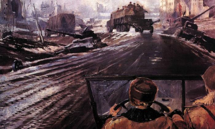 Картина «Фронтовая дорога» в Русском музее
