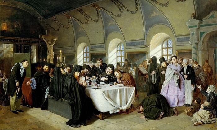 Картина «Монастырская трапеза» в Русском музее